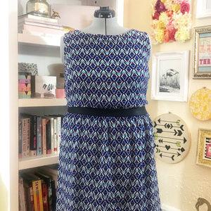 Blue Geometric Print Chiffon Dress